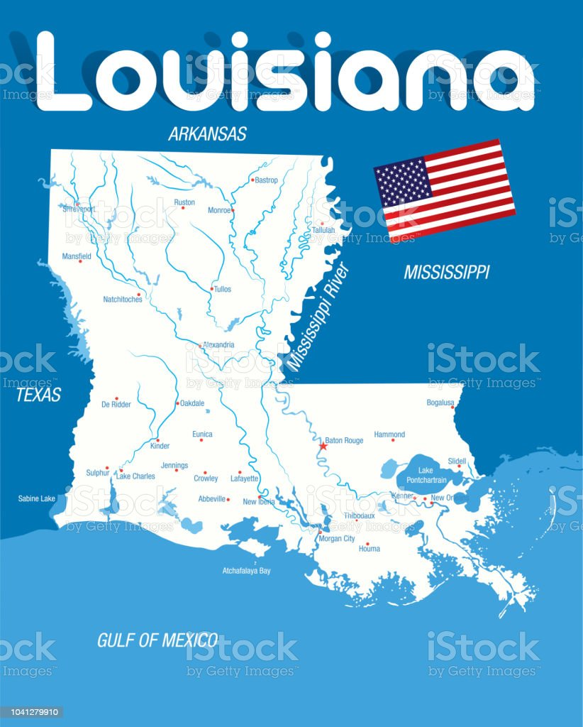 Cartoon Map of LOUISIANA vector art illustration
