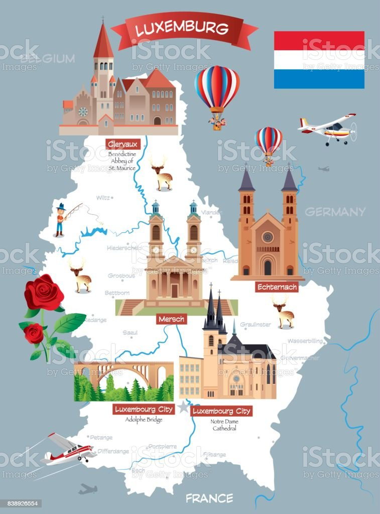 Cartoon map of LUXEMBOURG vector art illustration