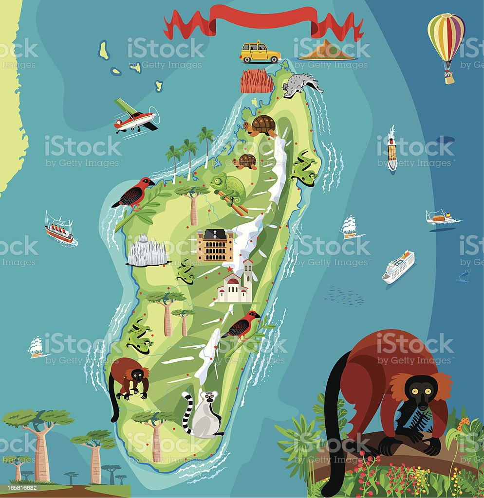 Cartoon Map Of Madagascar Stock Vector Art More Images of Africa