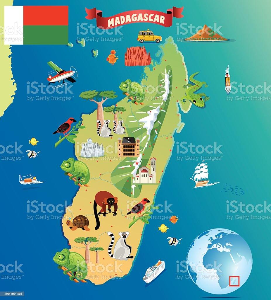 Madagaskar Karte.Cartoon Karte Von Madagaskar Stock Vektor Art Und Mehr