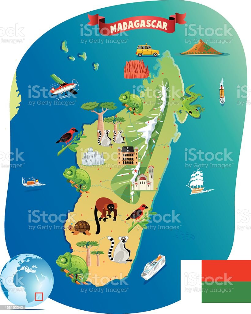 Cartoon Map Of Madagascar Stock Vector Art IStock - Madagascar map
