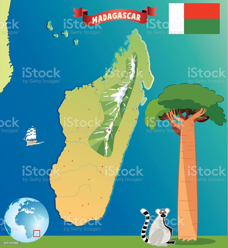 Cartoon Map Of Madagascar Stock Vector Art More Images of 2015