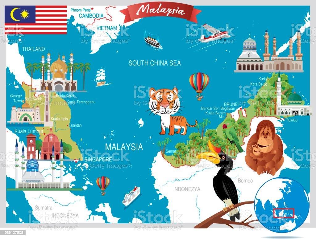Cartoon map of Malaysia vector art illustration