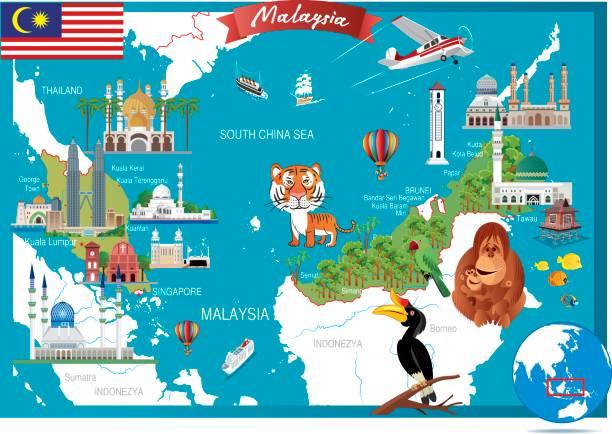 Cartoon-Karte von Malaysia – Vektorgrafik