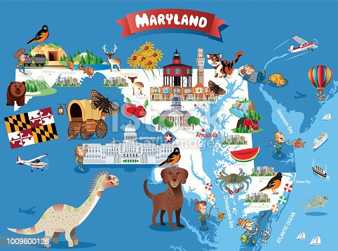 Cartoon map of MARYLAND  I have used  http://legacy.lib.utexas.edu/maps/world_maps/world_physical_2015.pdf http://legacy.lib.utexas.edu/maps/united_states/fed_lands_2003/maryland_2003.pdf address as the reference to draw the basic map outlines with Illustrator CS5 software, other themes were created by  myself.