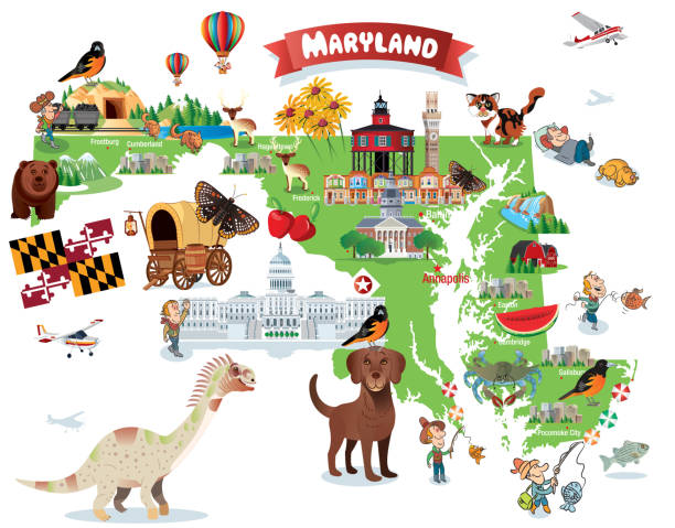 Cartoon map of MARYLAND vector art illustration