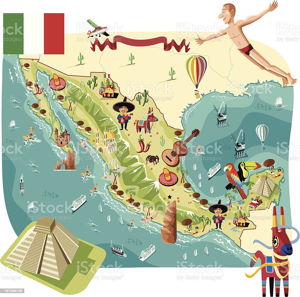 Cartoon Map Of Mexico Stock Vector Art More Images of Acapulco