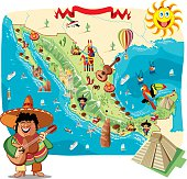 Cartoon map of Mexico