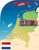Cartoon map of Netherland