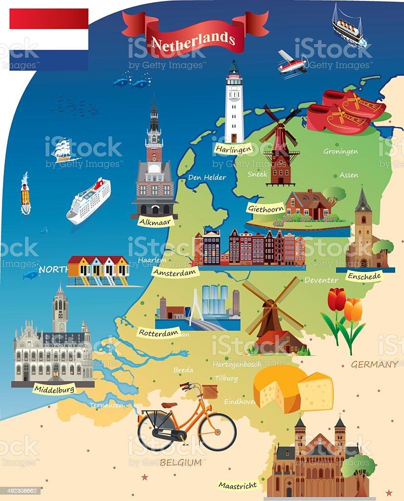 Carte Hollande Touristique.Dessin Carte Des Paysbas Vecteurs Libres De Droits Et Plus D