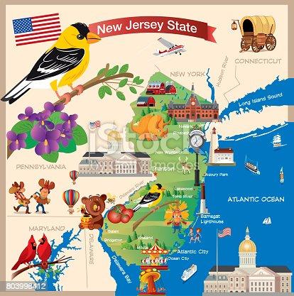 Cartoonkarte Von New Jersey State Stock Vektor Art und mehr Bilder ...