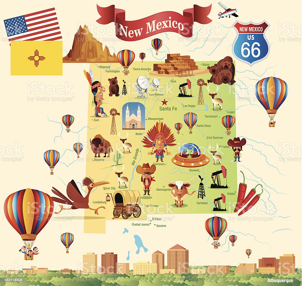 Cartoon map of New Mexico vector art illustration