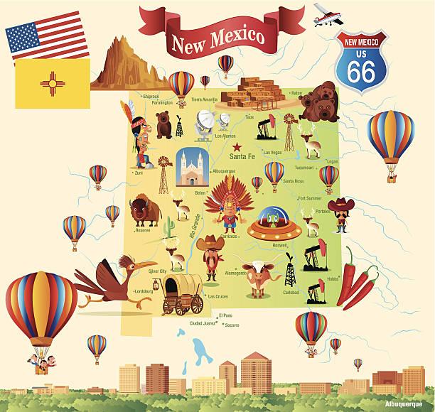 Cartoon map of New Mexico vector art illustration
