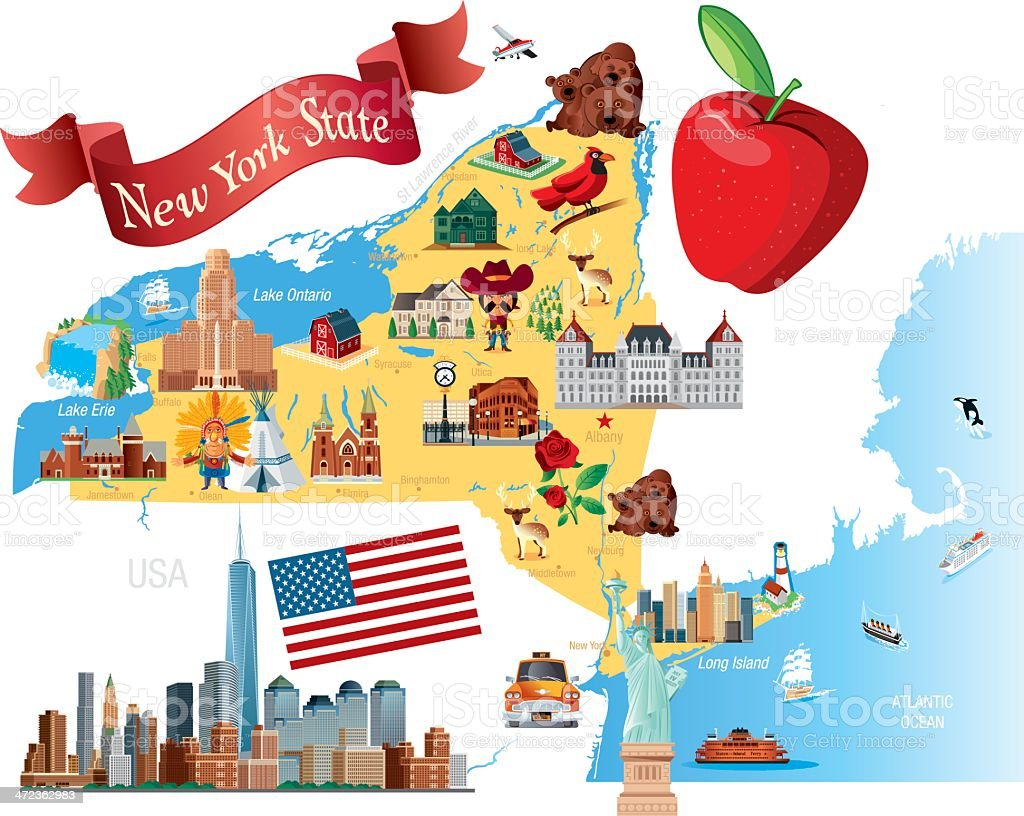 Cartoon Map Of New York State Stock Vector Art More Images Of - Ny state map