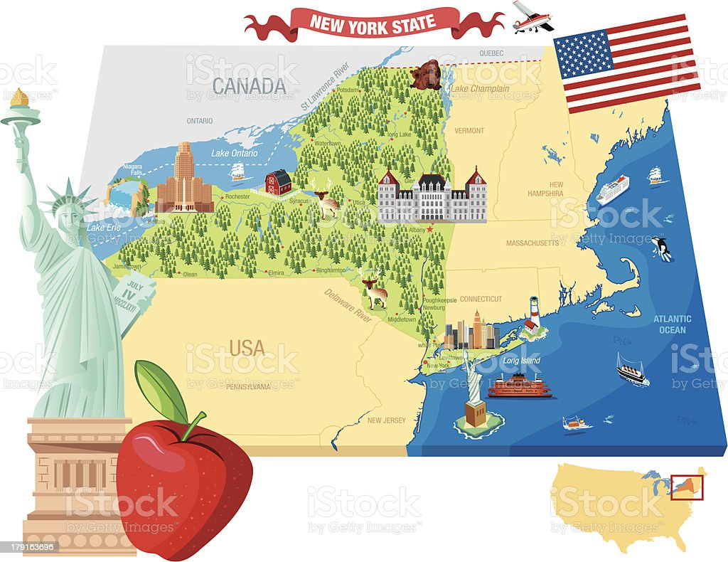 Cartoon Map Of New York stock vector art 179163696 iStock