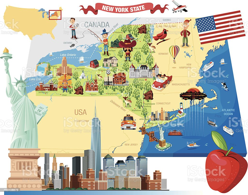 cartoon map of new york royalty free cartoon map of new york stock vector art