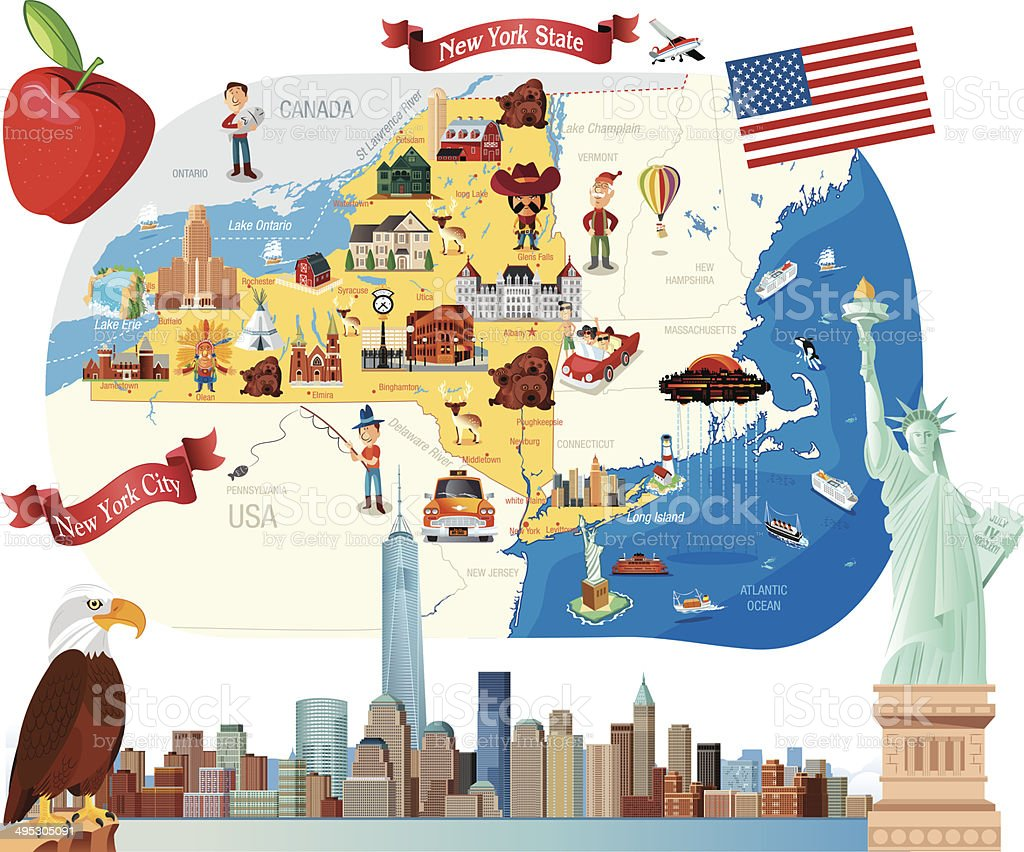 Cartoon Map Of New York City.Cartoon Map Of New York Stock Vector Art More Images Of Albany