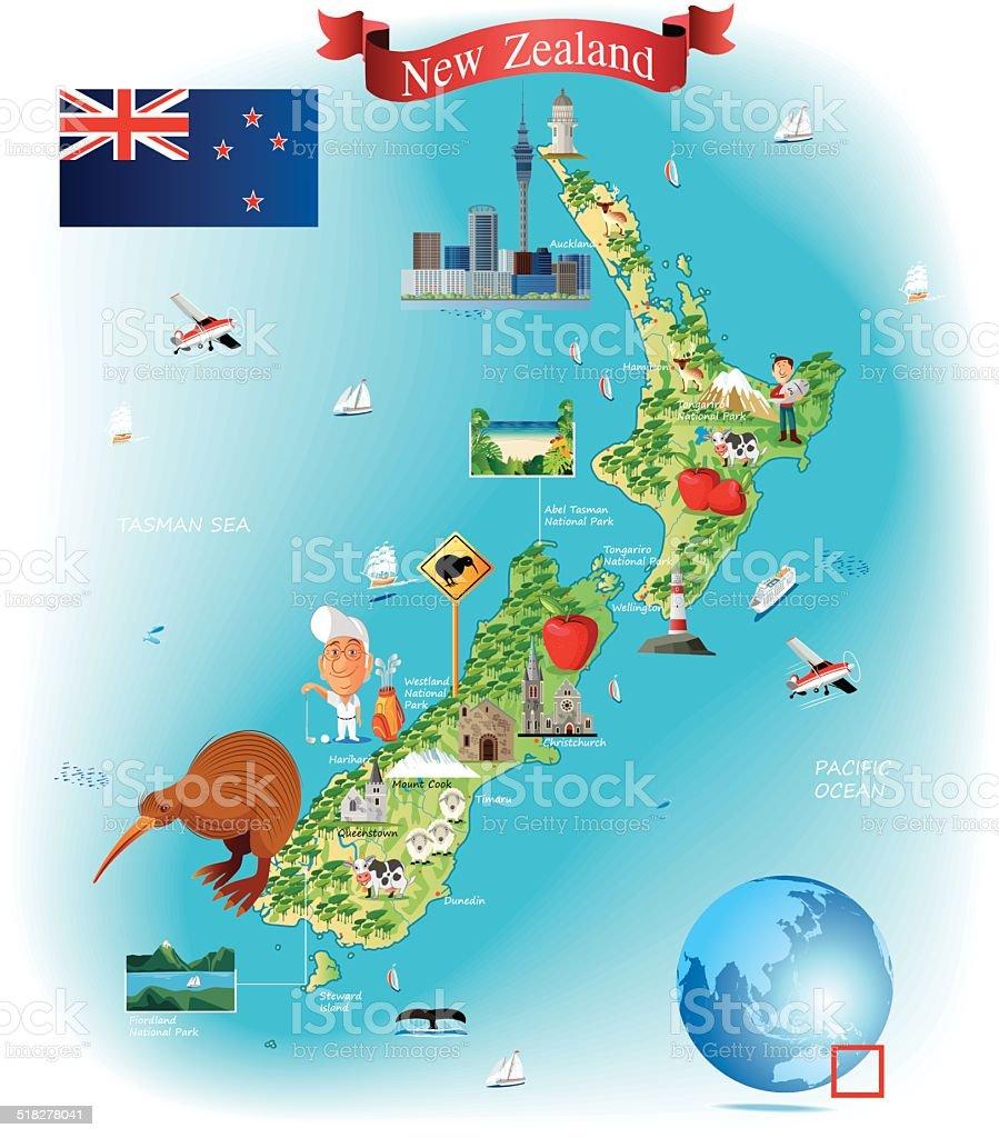 Carte Nouvelle Zelande Dessin.Carte De Dessin Anime De La Nouvellezelande Vecteurs Libres