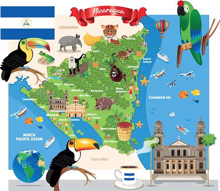 Cartoon Map of Nicaragua, Managua, Leon, Masaya, Chinandega, Matagalpa, Esteli, Granada, Jinotega, El Viejo, New Guinea, Sandino City, Juigalpa, Tipitapa, Bluefields, Diriamba, Ocotal, Puerto Cabezas, Chichigalpa, Rivas, San Rafael del Sur, Jinotepe,