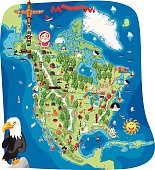 Cartoon map of North America