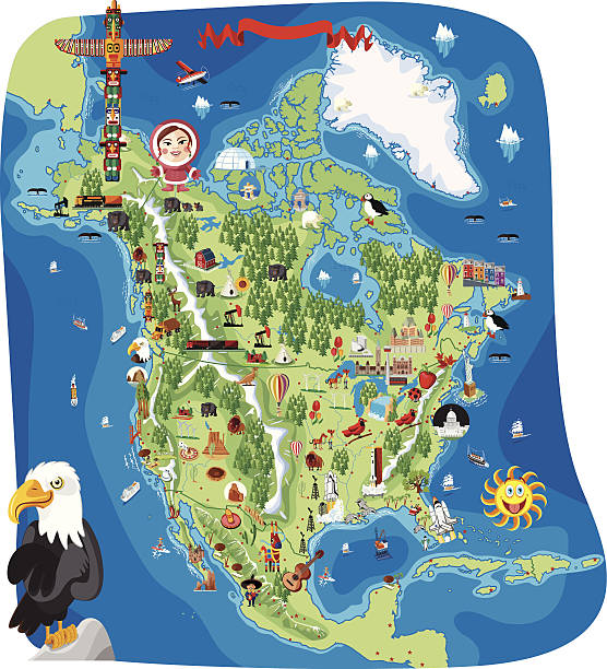 Cartoon map of North America vector art illustration