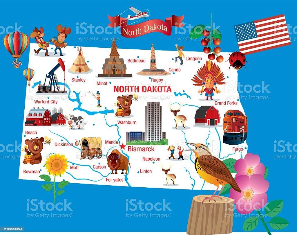 Cartoon Map Of North Dakota Stock Vector Art IStock - Map of north dakota