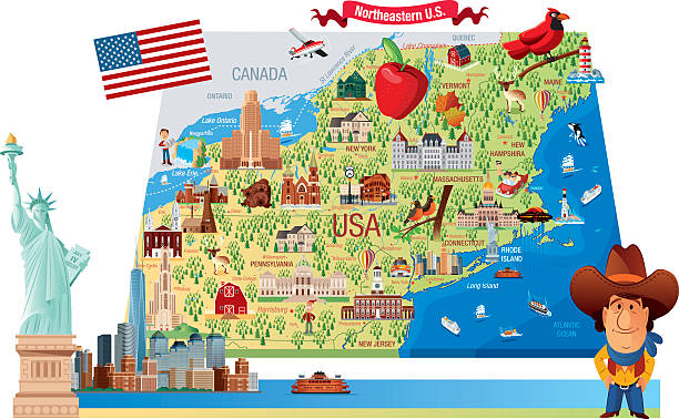 Cartoon map of Northeastern U.S. vector art illustration
