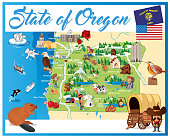 Cartoon map of OREGON