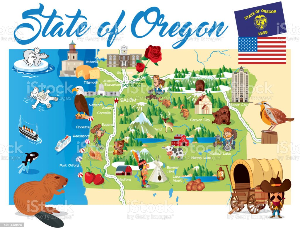 cartoon map of oregon stock illustration download image now istock cartoon map of oregon stock illustration download image now istock