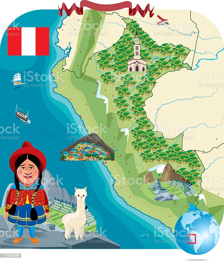 Cartoon Map of PERU vector art illustration