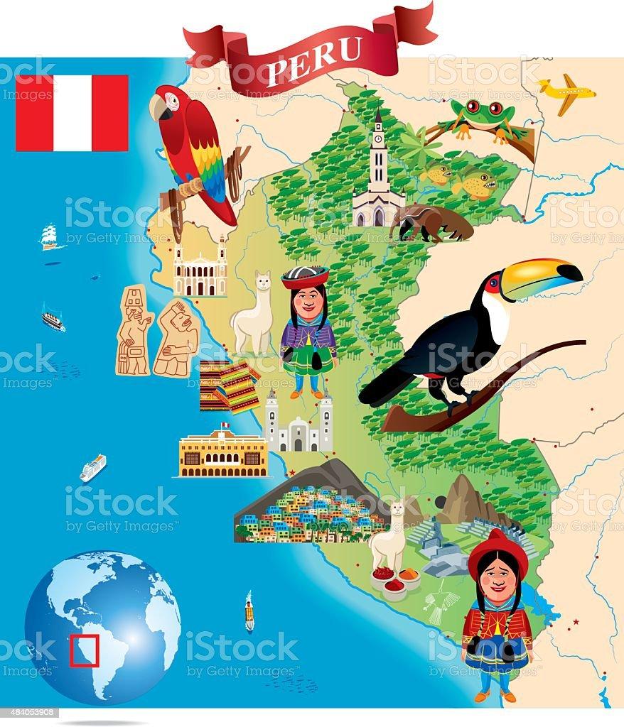 Cartoon Map Of Peru Stock Vector Art & More Images of 2015 484053908 ...