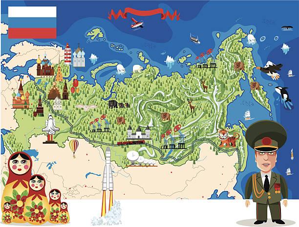 cartoon karte von russland - kasachstan stock-grafiken, -clipart, -cartoons und -symbole