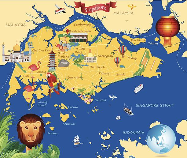 stockillustraties, clipart, cartoons en iconen met cartoon map of  singapure - singapore