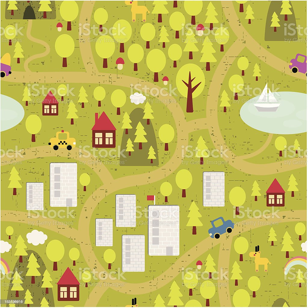 Cartoon map of small town and countryside. royalty-free stock vector art