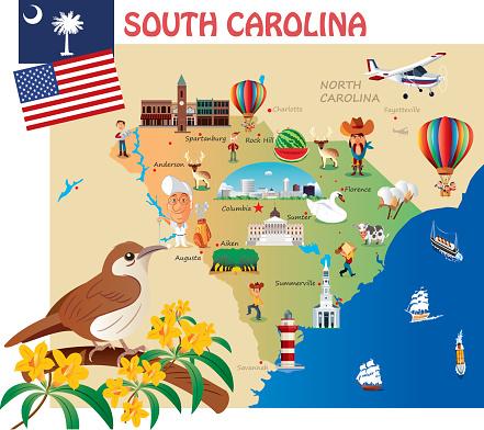 Cartoon map of South Carolina