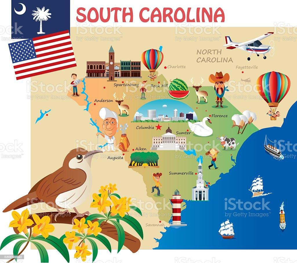 Cartoon map of South Carolina vector art illustration