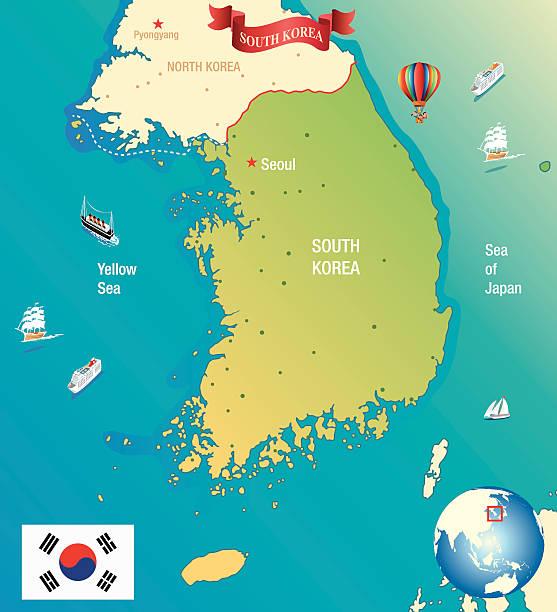 カットイラスト、マップの韓国 - 韓国の国旗点のイラスト素材/クリップアート素材/マンガ素材/アイコン素材