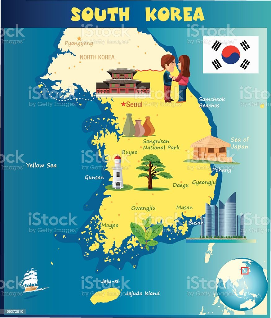Cartoon Map Of South Korea Stock Vector Art More Images of 2015