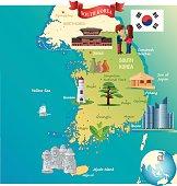 Cartoon map of South Korea