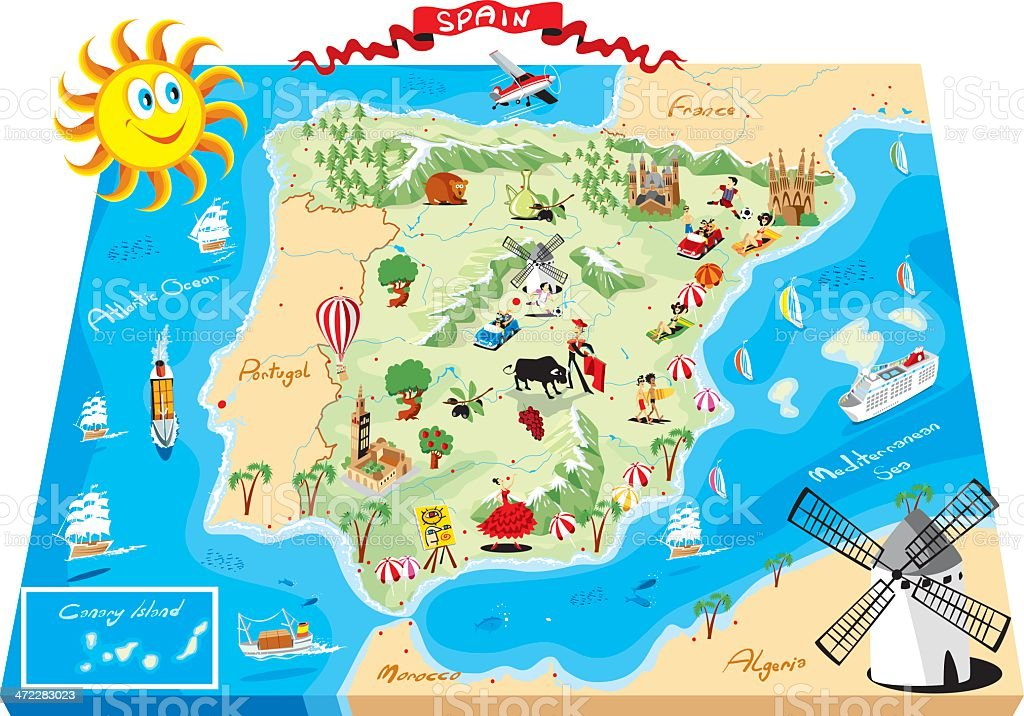 Cartoon map of Spain royalty-free stock vector art