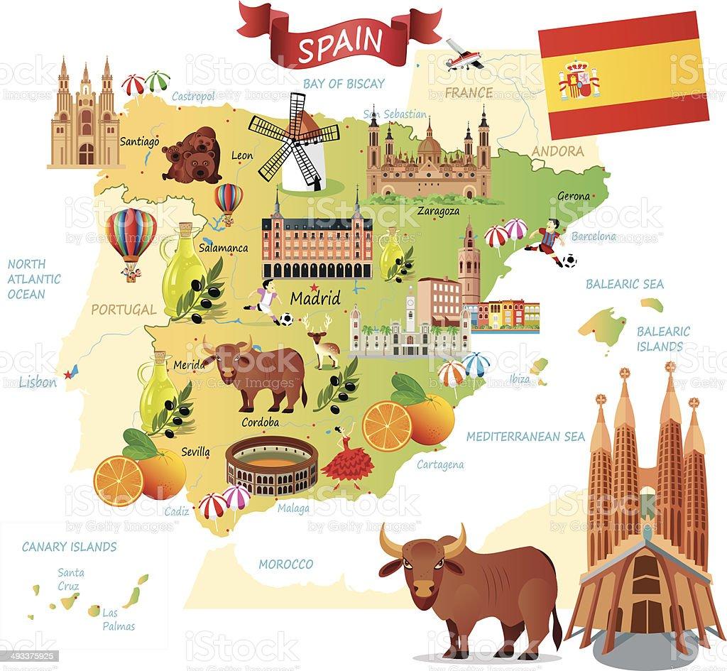 Desenho Mapa da Espanha - ilustração de arte em vetor