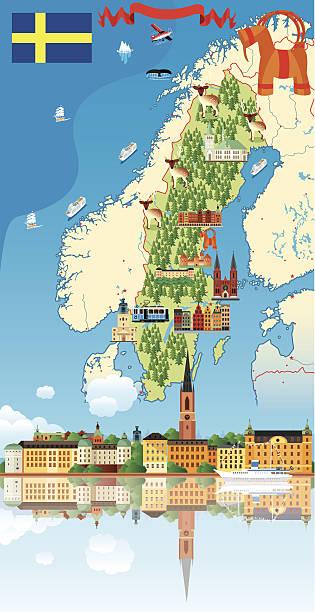 bildbanksillustrationer, clip art samt tecknat material och ikoner med cartoon map of sweden - gothenburg