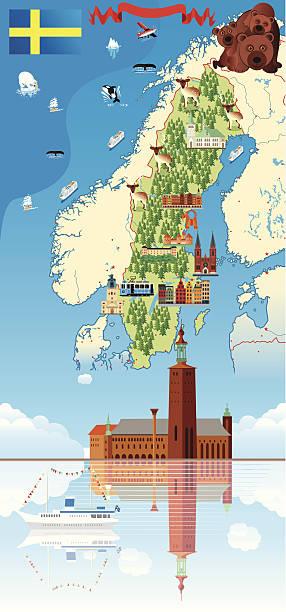 bildbanksillustrationer, clip art samt tecknat material och ikoner med cartoon map of sweden - luleå