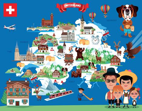 Cartoon Map of Switzerland