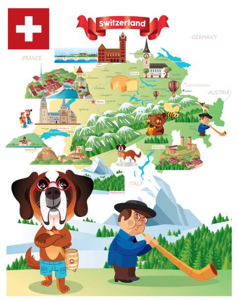 cartoon map of switzerland, winterthur,herisau, appenzell, zürichsee, liestal, aarau, olten, porrentruy, delemont, solothurn, biel, zug,  niederurnen, glarus, schwyz, neuchatel, fribourg, thun, burgdorf, altdort, andermatt, gletsch, locarno, brig, sierre, - locarno stock-grafiken, -clipart, -cartoons und -symbole