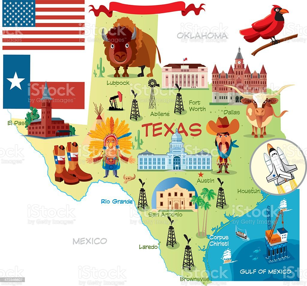 Cartoon Map Of Texas Stock Vector Art IStock - Mapa texas