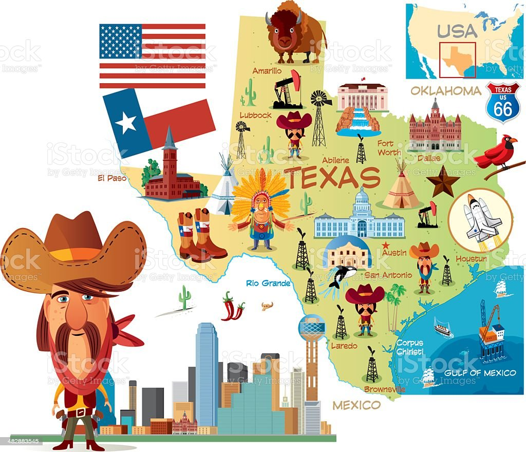 Cartoon map of Texas royalty-free stock vector art