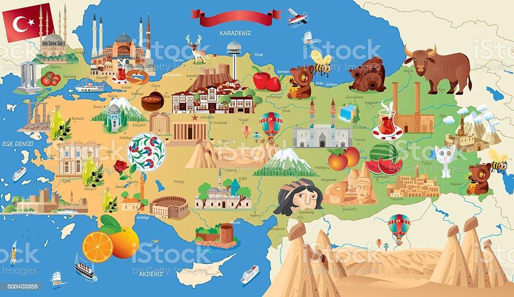 Cartoon map of Turkey vektör sanat illüstrasyonu