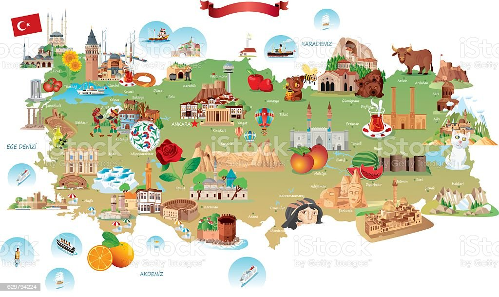 Cartoon map of Turkey vector art illustration