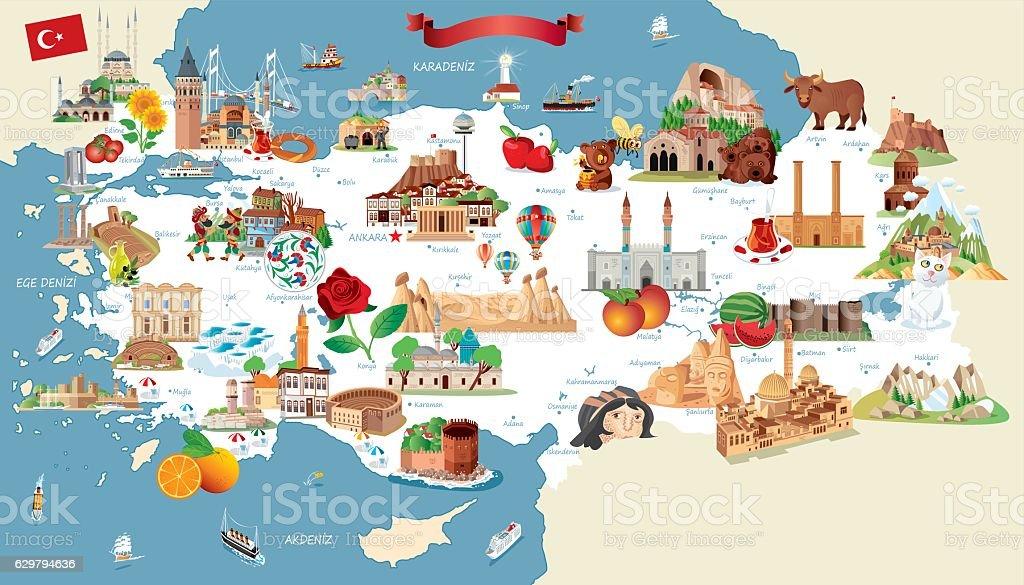 Cartoon map of Turkey vector art illustration